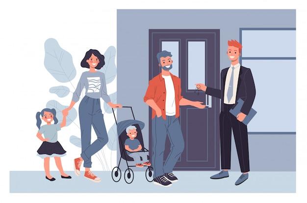 Famiglia che compra nuova casa