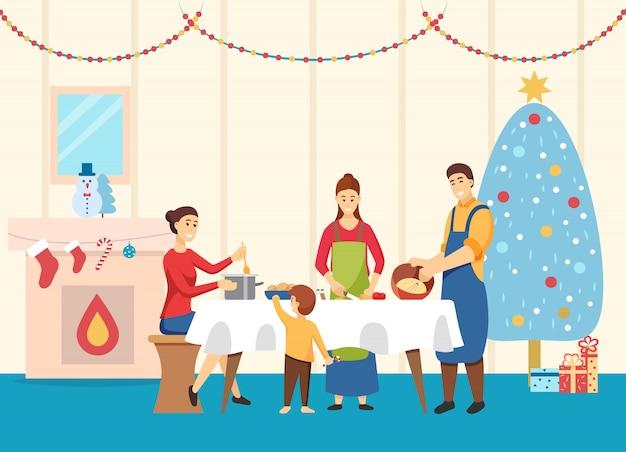 Famiglia che cucina i piatti per il vettore della tavola di natale