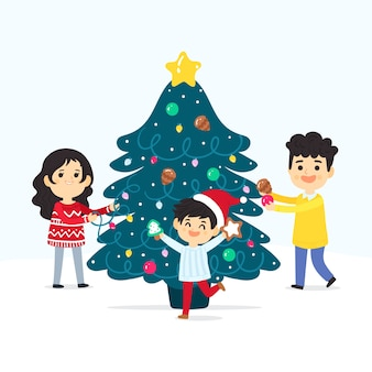 Famiglia che decora l'albero di natale