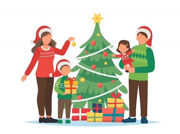 Famiglia che decora l'illustrazione dell'albero di natale
