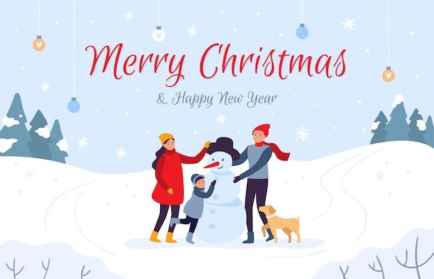 Famiglia che fa la carta di festa del pupazzo di neve. buon natale e felice anno nuovo, illustrazione di vacanze invernali