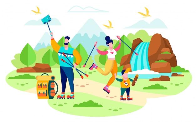 Famiglia che fa un'escursione nel concetto piano di vettore delle montagne