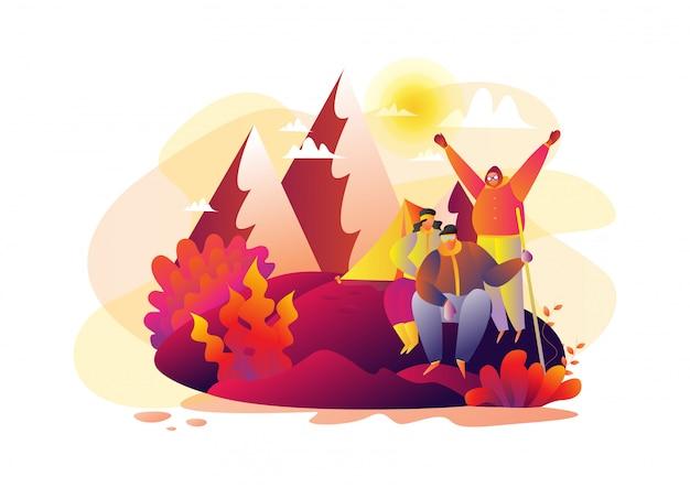 Famiglia che fa un'escursione nell'illustrazione piana di vettore del fumetto delle montagne