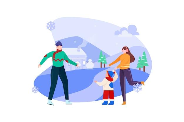 Famiglia che gioca sull'illustrazione di giorno della neve di inverno