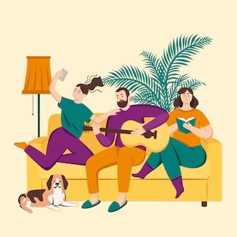 Famiglia che gode del tempo insieme al cane