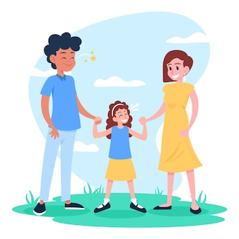 Famiglia che gode del tempo insieme in natura