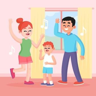 Famiglia che gode insieme dell'illustrazione di tempo