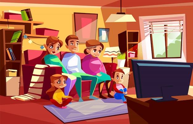 Famiglia che guarda insieme l'illustrazione della tv dei genitori e dei bambini che si siedono sul sofà
