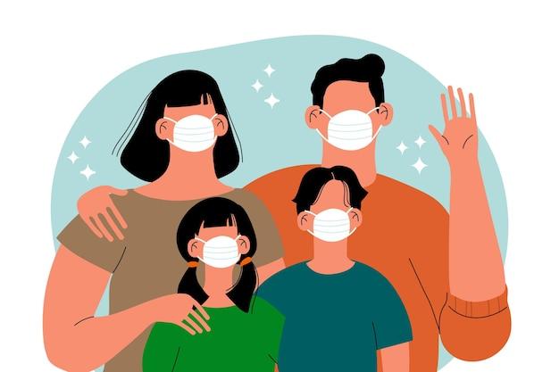 Famiglia che indossa maschere per il viso