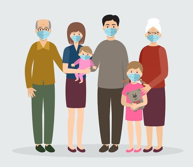 Famiglia che indossa una maschera medica protettiva. mamma, papà, nonna, nonno, bambini.