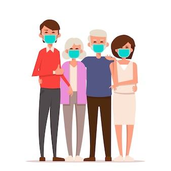 Famiglia che indossa una maschera medica protettiva per prevenire i virus.