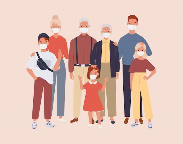 Famiglia che indossa una maschera medica protettiva per prevenire virus e inquinamento dell'aria.