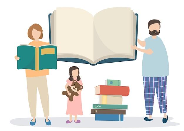Famiglia che legge un libro di storie