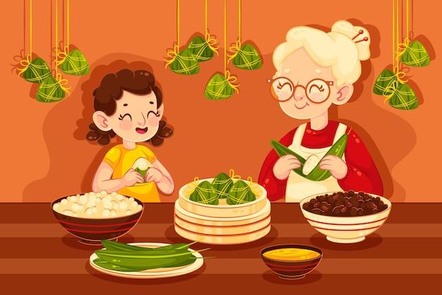 Famiglia che prepara e mangia zongzi