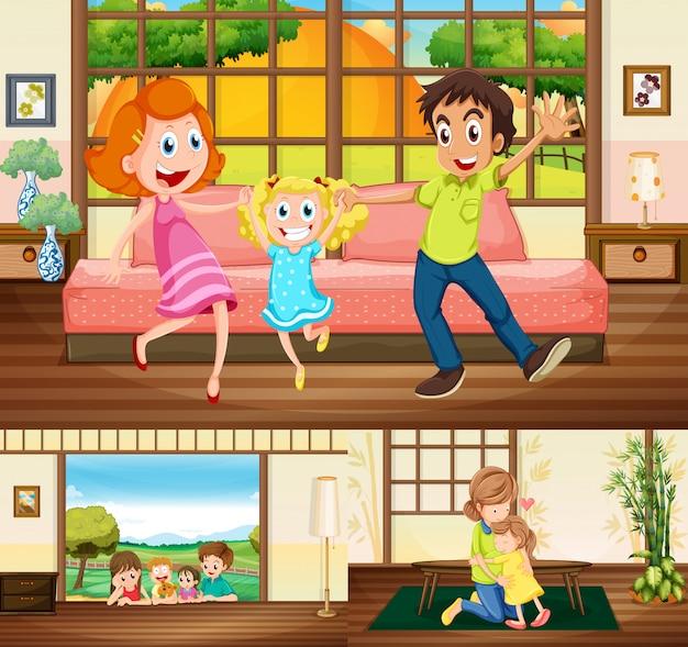 Famiglia che soggiorna in casa