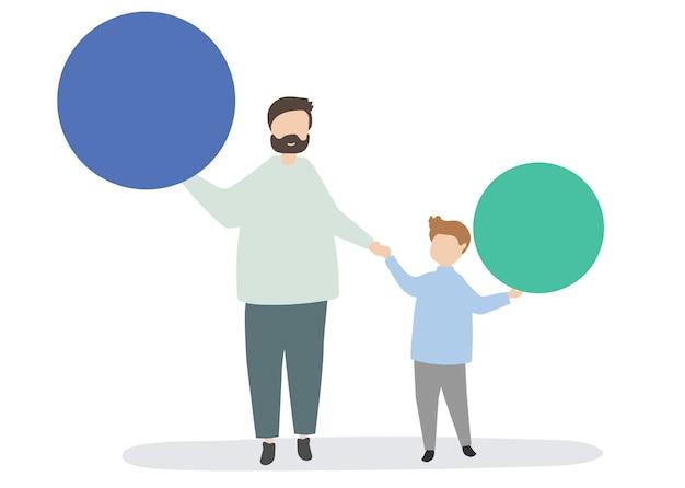Famiglia che tiene l'illustrazione di cerchi colorati