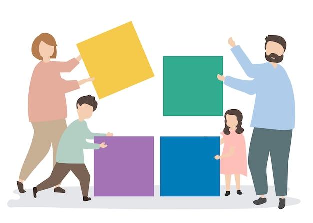 Famiglia che tiene l'illustrazione variopinta dei blocchi