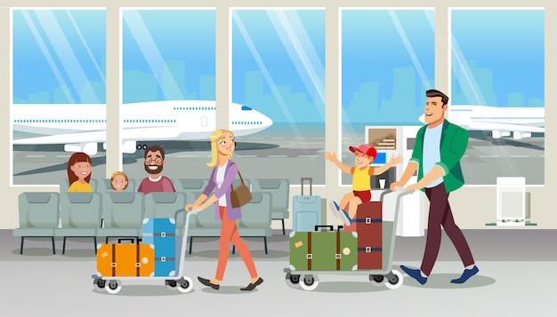 Famiglia che trasportano bagaglio nel vettore del fumetto dell'aeroporto