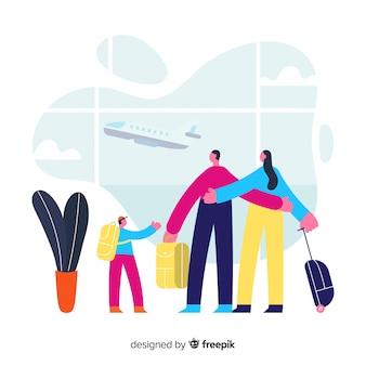 Famiglia che viaggia all'aeroporto