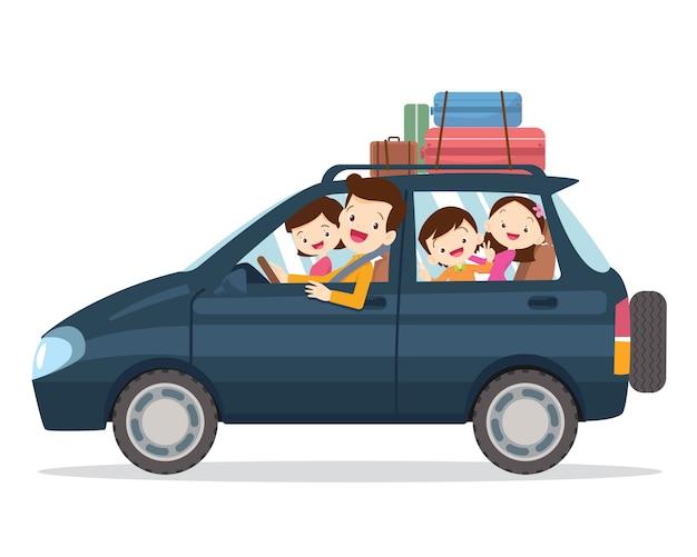 Famiglia che viaggia insieme in vacanza