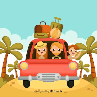 Famiglia che viaggia sullo sfondo