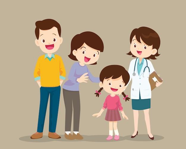 Famiglia che visita il medico della donna della donna