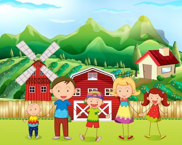 Famiglia che vive nella fattoria