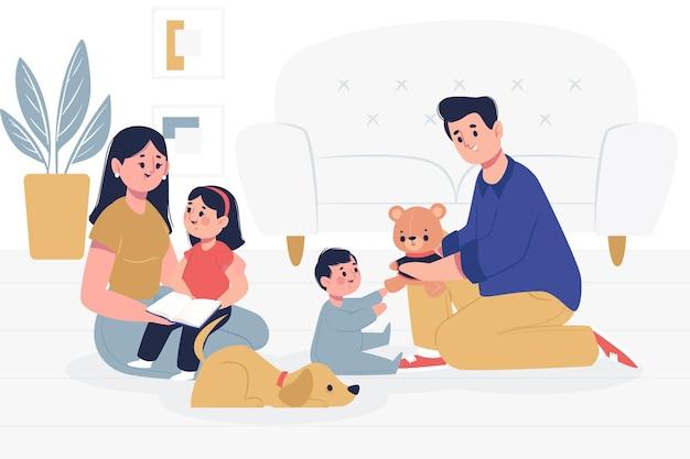 Famiglia con animali domestici che trascorrono del tempo insieme