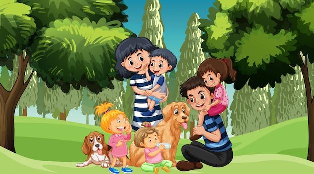 Famiglia con animali domestici nel parco