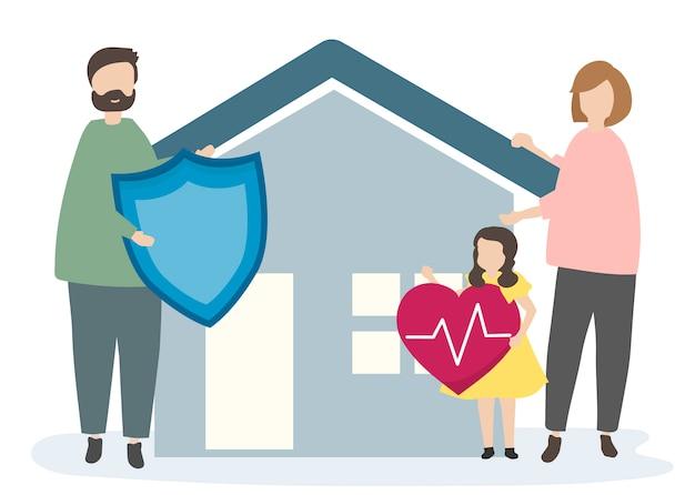 Famiglia con assicurazione sulla casa e sicurezza