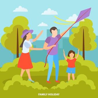 Famiglia con bambini al parco