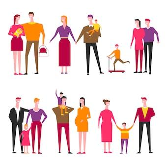 Famiglia con bambini cartoon vettoriale genitori e figli
