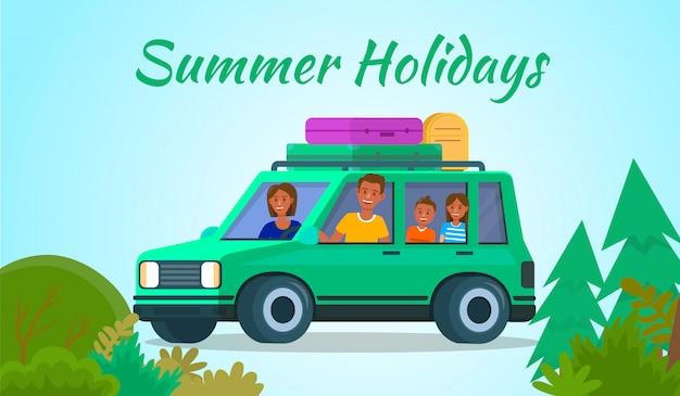 Famiglia con bambini che guidano in auto su sfondo blu