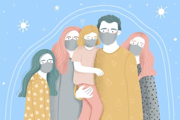 Famiglia con bambini protetti dal virus
