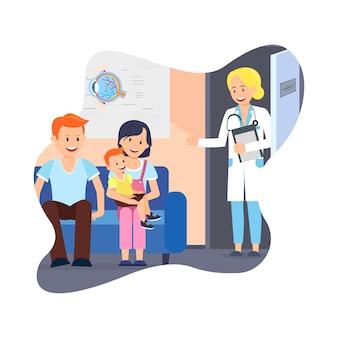 Famiglia con bambino all'ufficio di medici. assistenza sanitaria.