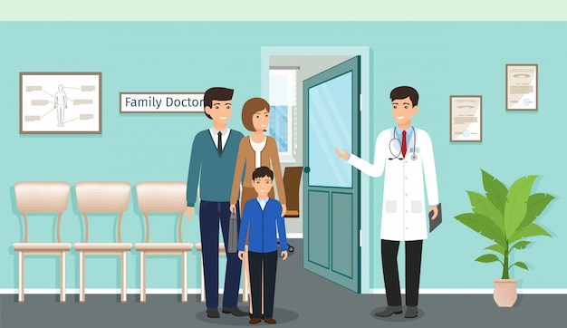 Famiglia con bambino vicino alla consultazione di un medico nell'ufficio della clinica. dottore in uniforme e famiglia di personaggi dei pazienti