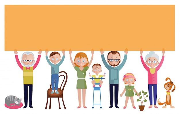 Famiglia con banner