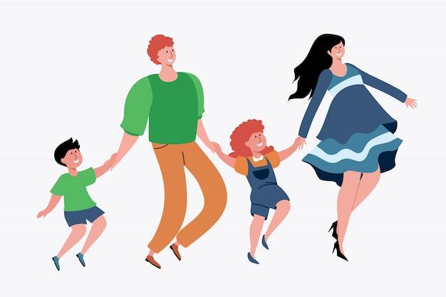 Famiglia con due bambini che si divertono