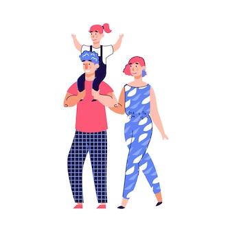 Famiglia con il bambino che cammina insieme illustrazione di vettore del fumetto isolata su bianco.