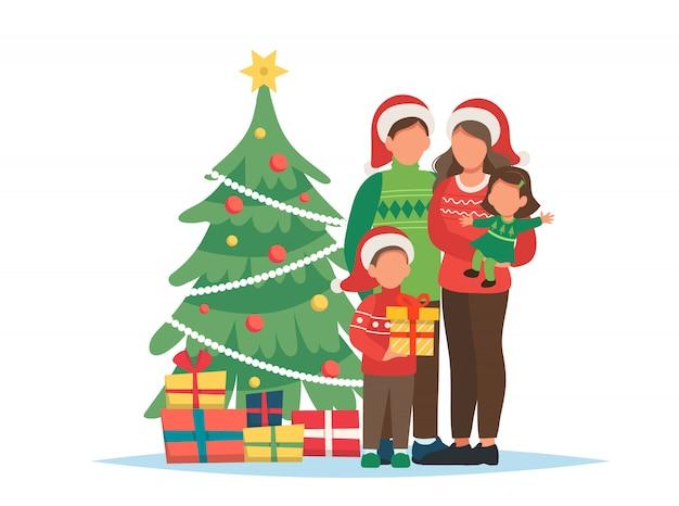 Famiglia con l'albero di natale e l'illustrazione dei regali