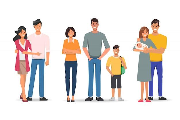 Famiglia con padre madre e bambini carattere.