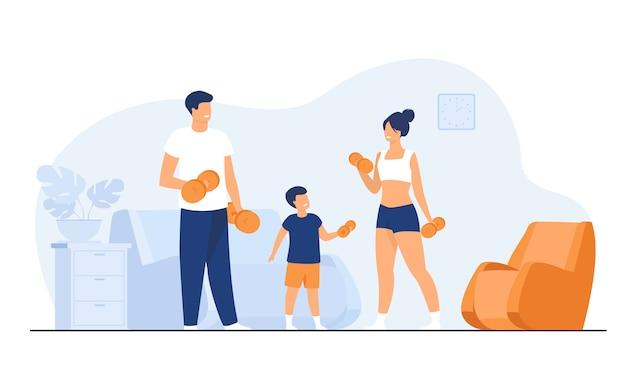 Famiglia concetto di attività sportiva