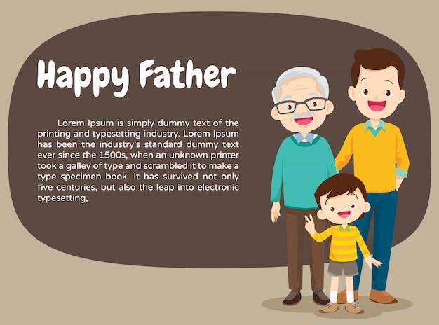 Famiglia del ritratto con il figlio e il padre felici del nonno