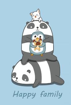 Famiglia di animali felice nello stile del fumetto.