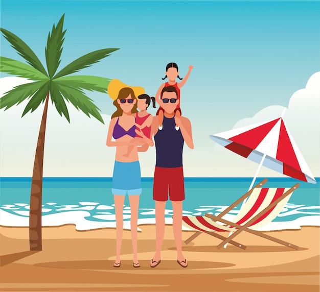 Famiglia di avatar con bambini in spiaggia, design colorato