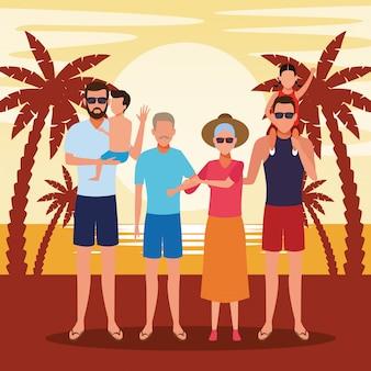Famiglia di avatar con bambini piccoli alle vacanze estive in spiaggia