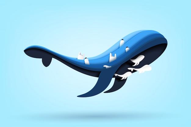 Famiglia di balene blu e oceano con rifiuti e immondizia sul mare.