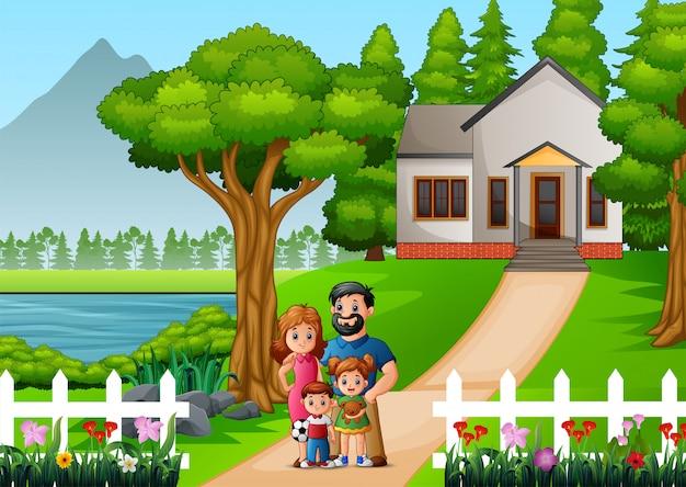 Famiglia di cartoni animati davanti al cortile della casa