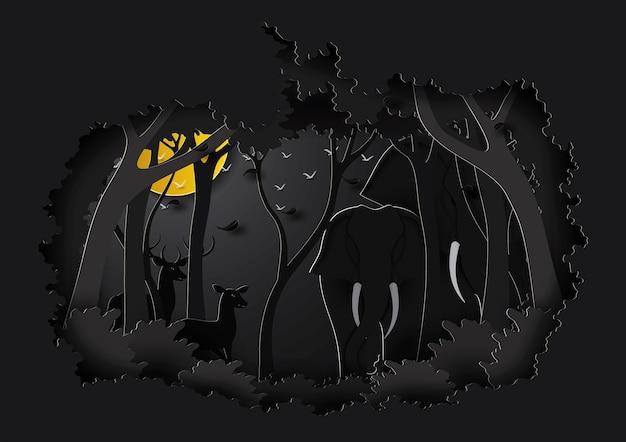 Famiglia di elefanti nell'arte della carta forestale e nello stile del mestiere.