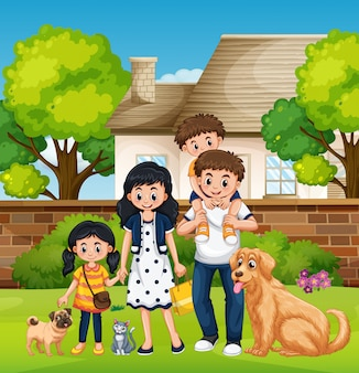 Famiglia di fronte alla casa